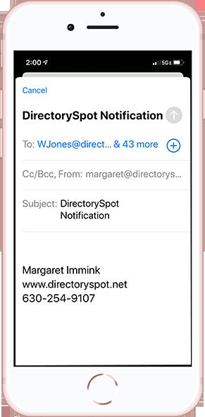 DirectorySpot smartphone email notification
