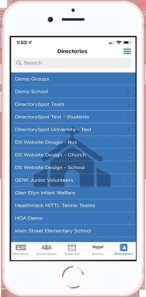 DirectorySpot Church directories on smartphone