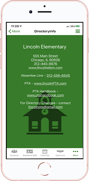 DirectorySpot School directory on smartphone