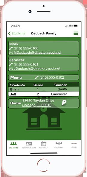 DirectorySpot contact on smartphone