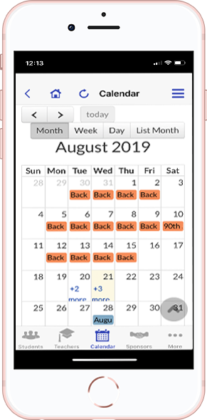 DirectorySpot calendar on smartphone