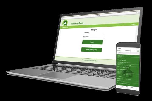 DirectorySpot app on laptop and smartphone